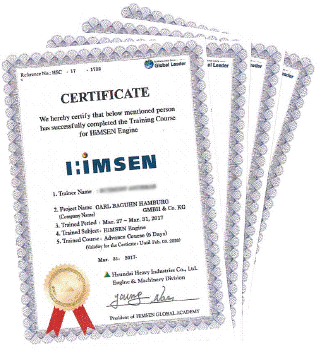 Hyundai HiMSEN certificate for Carl Baguhn, Hamburg, Germany